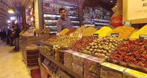 Old Egyptian market in Istanbul for the sale of spices and sweets. ISTANBUL, TURKEY - 7 APRIL , 2017: Old Egyptian market in Istanbul for the sale of spices and stock video