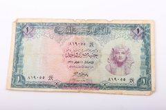 Old Egyptian Paper Money. On white background Royalty Free Stock Photo