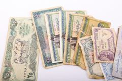 Old Egyptian Paper Money. On white background Royalty Free Stock Image