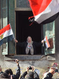 Old Egyptian woman supporting demonstrators Stock Image