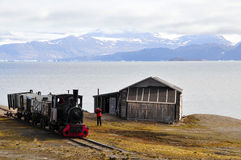 Old Eisembahn on Ny Alesund (Spitsbergen). In Ny Alesund there was at the beginning of the 20th century the probably most northern railway company of the world Stock Photography