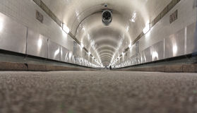 Old Elbe tunnel. Low angle view of the old Elbe tunnel in Hamburg royalty free stock photos
