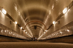 Old Elbtunnel in worm`s-eye view. Old Elbtunnel in Hamburg St. Pauli at Landungsbruecken Stock Photography