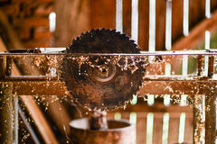 Old elctric circular saw. Old electric circular saw, abandoned royalty free stock image