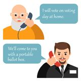 Old man calls on the phone members of the election Commission to royalty free illustration