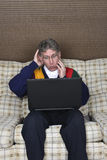 Old Elderly Senior Man Shock Laptop Computer Stock Photography
