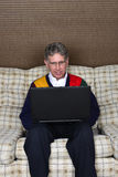 Old Elderly Senior Man Using Laptop Computer Stock Photography