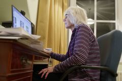 Old elderly senior person learning computer and online internet skills beware money fraud scam spam royalty free stock photography