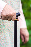 Old elderly woman walking with stick. Old elderly woman holding a walking stick closeup Royalty Free Stock Image