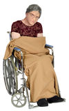 Old Elderly Woman in Wheelchair Isolated Royalty Free Stock Images