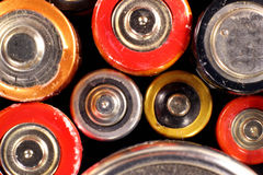 Old electric batteries closeup Royalty Free Stock Image