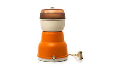 Old electric coffee grinder 70's. On white background Royalty Free Stock Image