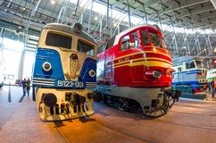 The old electric, diesel locomotive of times of the USSR. Russia Saint-Petersburg. November 02, 2017. Stock Photo
