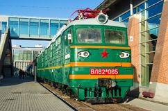The old electric, diesel locomotive of times of the USSR. Russia Saint-Petersburg. November 02, 2017. Royalty Free Stock Photos