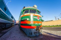 The old electric, diesel locomotive of times of the USSR. Russia Saint-Petersburg. November 02, 2017. Stock Image