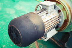 Old electric engine fragment, selective focus Royalty Free Stock Images