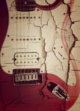 Old electric guitar on white. Close up Old Red electric guitar Royalty Free Stock Images