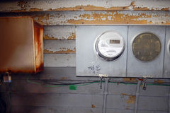 Old Electric Meters and a Lock Box Stock Photo
