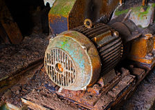 Old electric motor in abandoned factory royalty free stock images