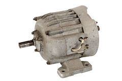 Old electric motor (isolated). Old electric motor, isolated on a white background stock photo