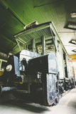 Old electric rail vehicles in a garage cleaning Stock Photography