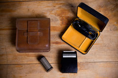 Old electric razor on a wooden table Stock Photography