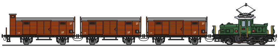 Old electric train. Hand drawing of an old electric train - not a real model Royalty Free Stock Image