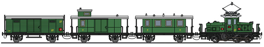 Old electric train. Hand drawing of an old electric train - not a real model Stock Photo