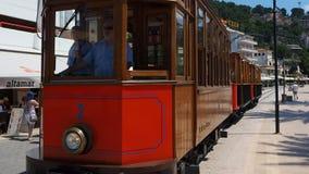 The old electric tram running between Soller and the downtown of Port de Soller. Port de Soller, Mallorca, Spain. The old electric tram running between Soller stock footage
