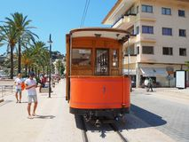 The old electric tram running between Soller and the downtown of Port de Soller royalty free stock photography