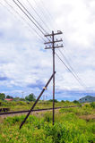 Old Electric transmission. Old Wooden Electric transmission Pole Stock Photo