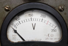 Old electric voltmeter. Old obsolete dirty electric voltmeter device close-up stock images