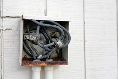 Old electrical connect panel or box on outside of building. Old electrical connection panel or box on outside of building, wires exposed royalty free stock photography
