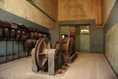 Old electrical elements in closed coalmine Stock Image