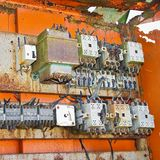 Old electrical panel. Of an abandoned factory stock photos