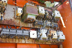 Old electrical panel of an abandoned factory.  stock images