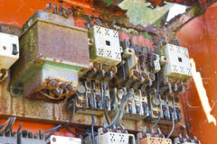 Old electrical panel of an abandoned factory.  stock image