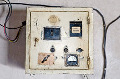 Old electrical panel. Industrial background - Old electrical panel close-up royalty free stock photography