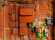 Old electrical panel on iron wall. Old electrical panel on a iron wall royalty free stock photography