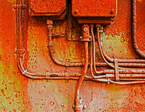 Old electrical panel on iron wall. Old electrical panel on a iron wall stock image