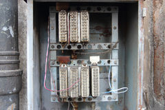 Old electrical panel. Vintage relays control power circuits in old electrical panel royalty free stock images