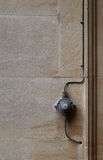 Old Electrical Switch ON OFF With Wires Stone Wall Background Royalty Free Stock Images
