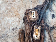 Old electrical wiring and switch. royalty free stock photos
