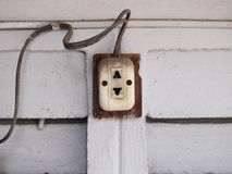 Old electricity socket on the wall Royalty Free Stock Photo