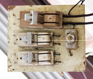 The old electricity switch. Stock Photo