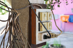 Old electricity switches with plug and socket Royalty Free Stock Photos