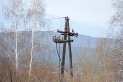 Old electricity transmission line stock photos