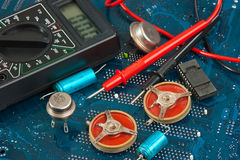 Old electronic components Stock Photo