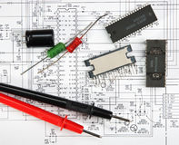 Old electronic components Stock Image