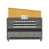 Old electronic piano organ vector illustration. Old electronic piano organ vector illustration  on white background. Church sound antique wood cathedral tool Royalty Free Stock Photo